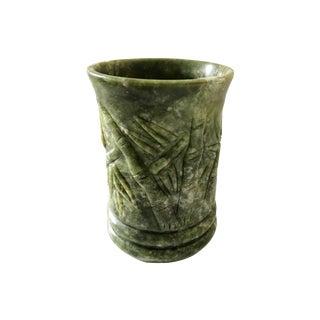 Jade Stone Vase /Pen Holder W/ Bamboo For Sale
