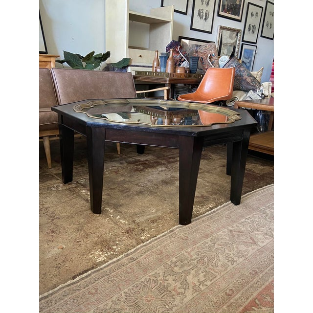Metal Mid Century Baker Ebony Octagonol Coffee Table With Glass Inset For Sale - Image 7 of 7