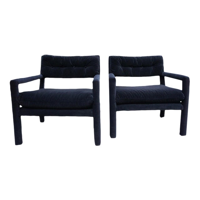 Baughman Style Black Velvet Open Arm Chairs - A Pair - Image 1 of 8