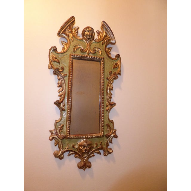 Vintage Rococo Green & Gold Gilt Carved Wood Mirror For Sale - Image 4 of 11
