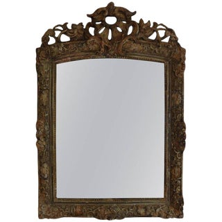 Mid 19th Century Antique French Louis XIV Style Painted Mirror For Sale