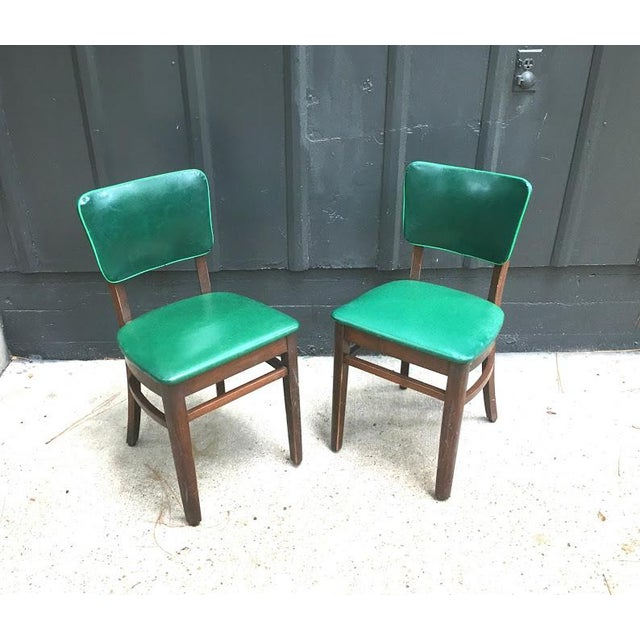 1930s Vintage Green Leather & Mahogany Dining Chairs- A Pair For Sale - Image 6 of 6