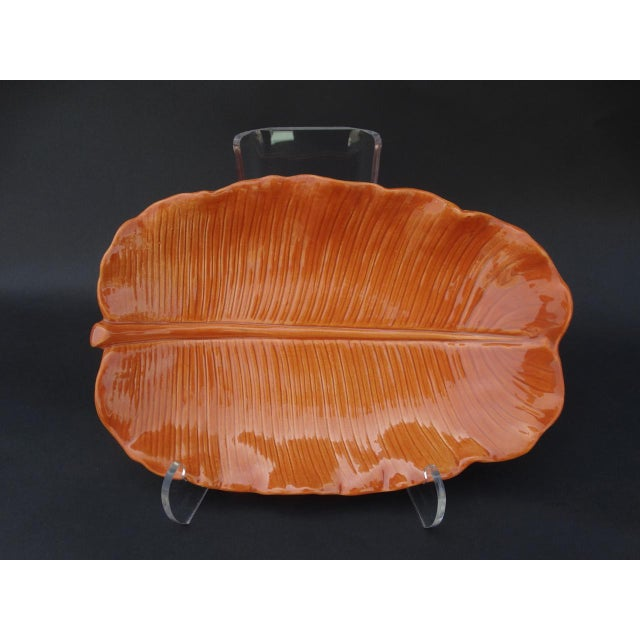 Mid-Century Modern 1940s Orange Newell Stevens Leaf Decorative Plate For Sale - Image 3 of 6