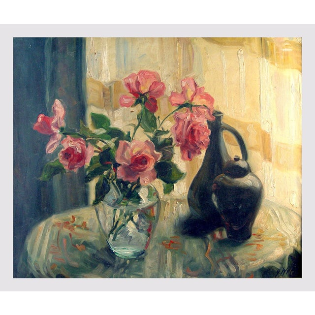 Cottage Sunny Window & Pink Roses Painting For Sale - Image 3 of 4