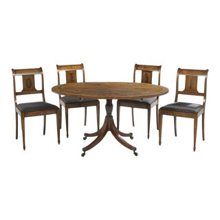 Neoclassical Inlaid Oval Table & 4 Chairs - 5 Pieces For Sale