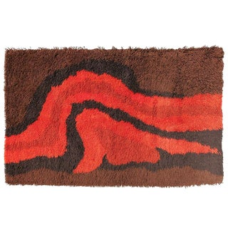 Scandinavia Abstract Shag Rug, circa 1969