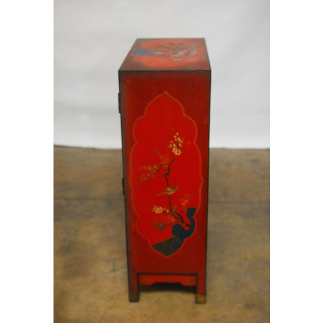 Red Chinese Polychrome Cabinets - A Pair - Image 8 of 8