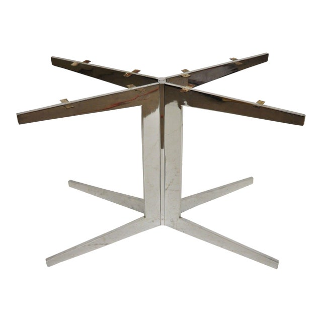 Mid-Century Modern Chrome Steel Double Star Pedestal Dining Table Bases - a Pair For Sale