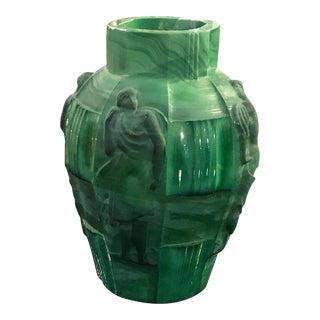 Czech Art Deco Malachite Glass Vase For Sale