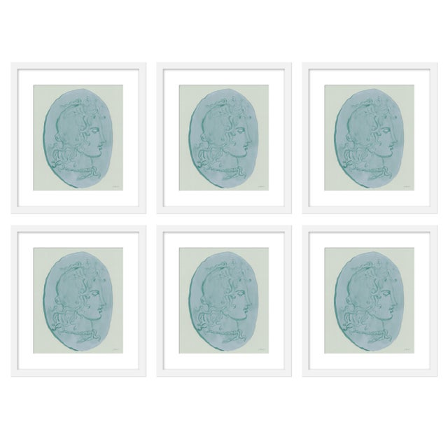 "Contemporary Large ""Medusa Blue Coin, Set of 6"" Print by Michelle Farro, 51"" X 38"" For Sale - Image 3 of 3"