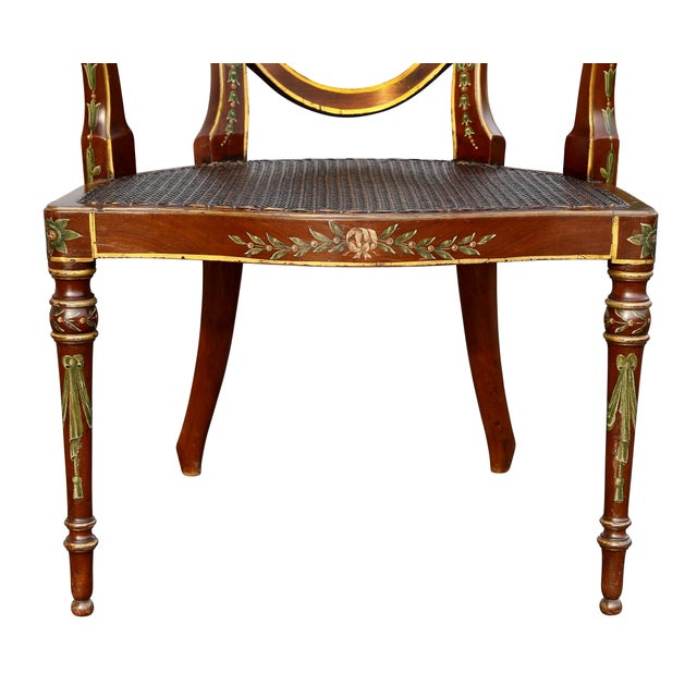 Edwardian Satinwood and Painted Armchair For Sale In Boston - Image 6 of 11