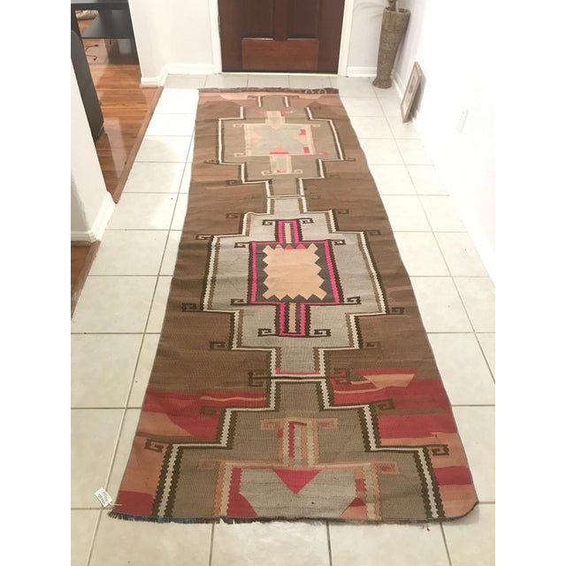 Turkish Vintage Kars Antique Kilim Rug Runner-3'4x10 For Sale In Houston - Image 6 of 6