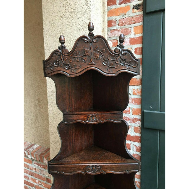 1900s Antique French Country Carved Dark Oak Corner