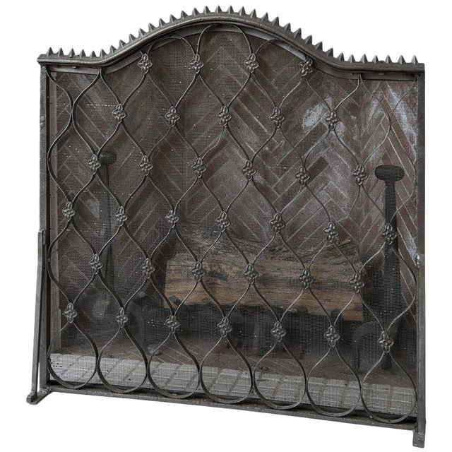 1940s Renaissance Iron Fireplace Grill For Sale