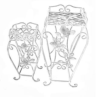 Palm Springs Regency Wrought Iron Rose Bud Decorated Matching Plant Stands - a Pair For Sale