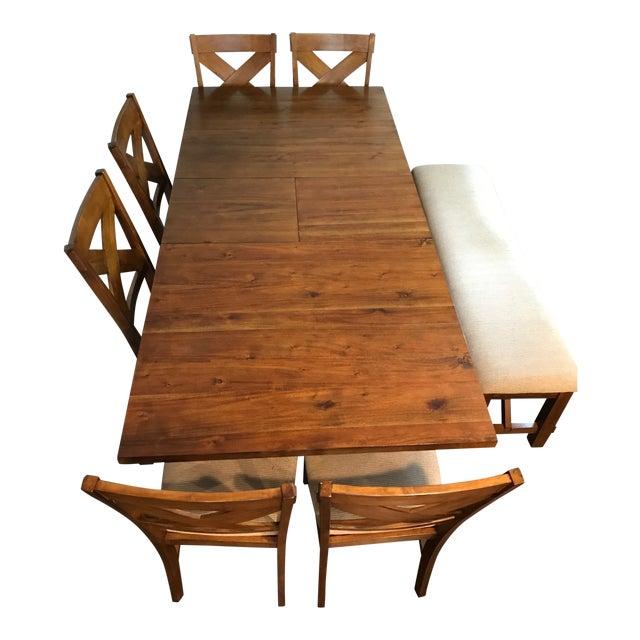 df155e262c96c4 Mid-Century Modern Farmhouse Extendable Dining Table Set - 8 Pieces ...