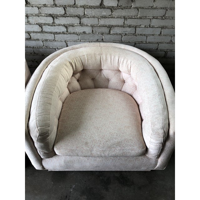 Vintage Mid-Century Milo Baughman Style Tufted Barrel Chairs - A Pair For Sale - Image 9 of 10