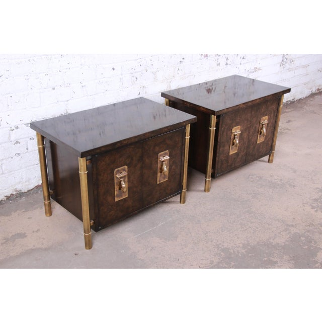 1970s Bernhard Rohne for Mastercraft Hollywood Regency Faux Bamboo Brass and Burl Bedside Chests - a Pair For Sale - Image 5 of 12