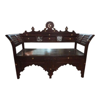 1920's Antique Moroccan Arabesque Style Bench For Sale