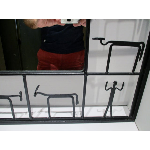 Pair Mirrors 1950's Frederick Weinberg Mid-Century Modern Giacometti Style Wrought Iron For Sale In Miami - Image 6 of 9