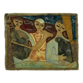 Abstract Expressionist Three Musicians Ceramic Relief by Ruth Faktorowitsch For Sale