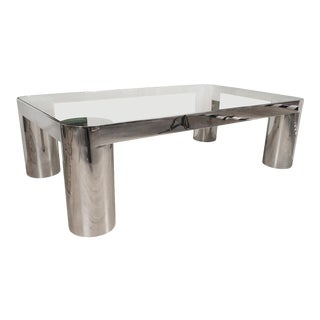 Rectangular Polished Nickel and Glass Coffee Table For Sale