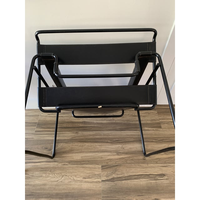 1970s Vintage Wassily Style Chairs With Black Frames - a Pair For Sale - Image 11 of 12