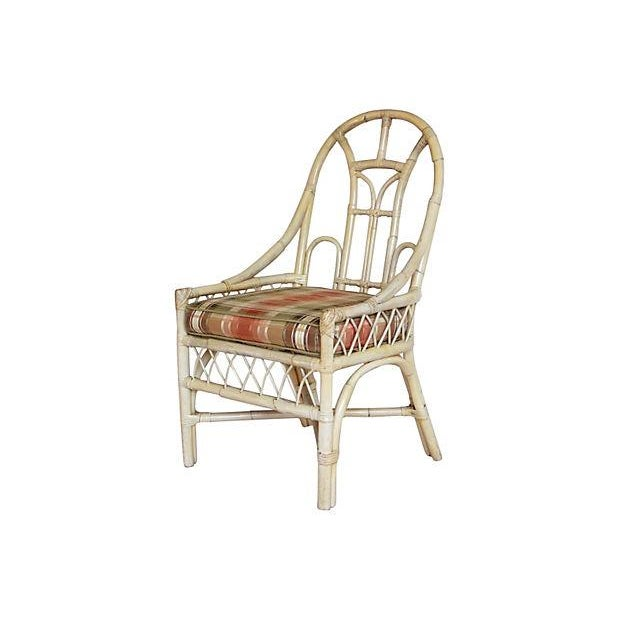 White Rattan Arch Back Chairs - Set of 4 - Image 3 of 5