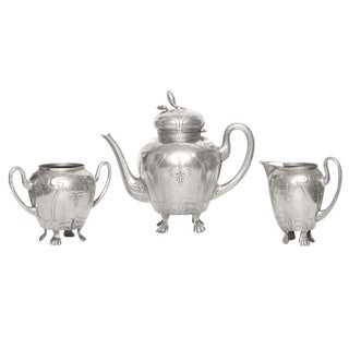 1920s Art Nouveau German Pewter Tea /Coffee Service - 3 Pieces For Sale