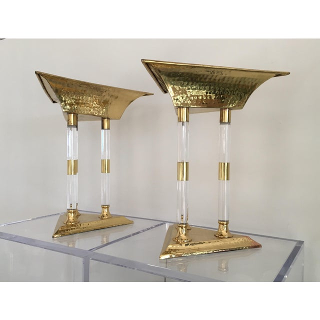 Boho Chic Italian Brass and Lucite Table Top Objets - a Pair For Sale - Image 3 of 13