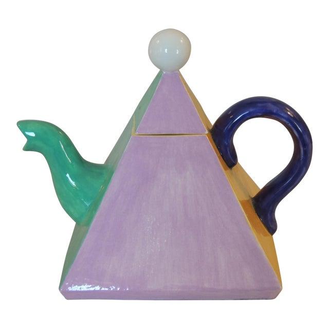 Colorful Bauhaus Style Ceramic Teapot - Image 1 of 4