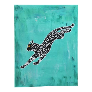 Leopard Chinoiserie Abstract Painting by Cleo Plowden For Sale