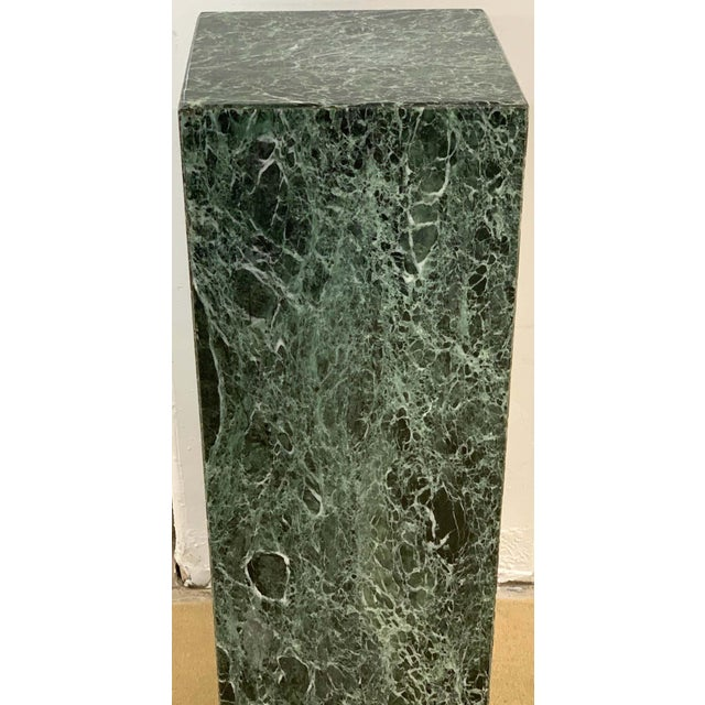 Modern Italian Verdigris marble pedestal, sleek and sublime, can go modern or antique/Grand Tour, bookmatched specimen...