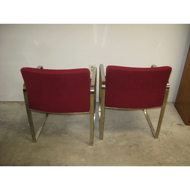 Mid Century Modern Chrome Flat Bar Side Chairs- A Pair For Sale In Charleston - Image 6 of 8