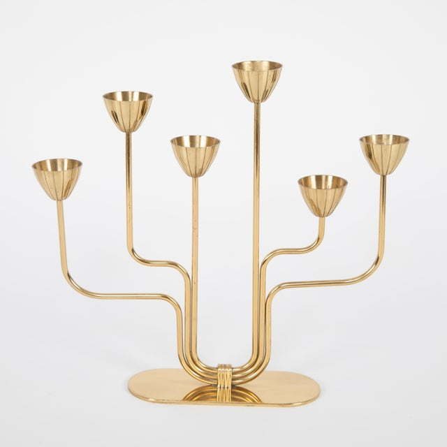 Gunnar Andersen for Ystad-Metall Candelabrum in Brass, Circa 1960s For Sale In New York - Image 6 of 11