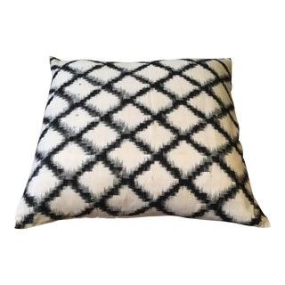 Black & White Lattice Ikat Pillow Cover