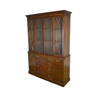 Henkel Harris Mahogany Chippendale Style Breakfront China Cabinet For Sale
