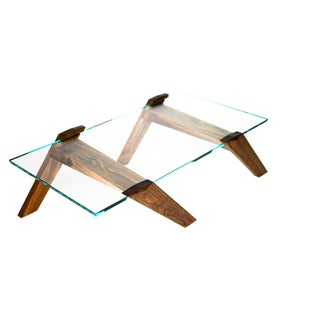 Modern Sculptural Walnut and Starphire Coffee Table by Robert Berganza For Sale