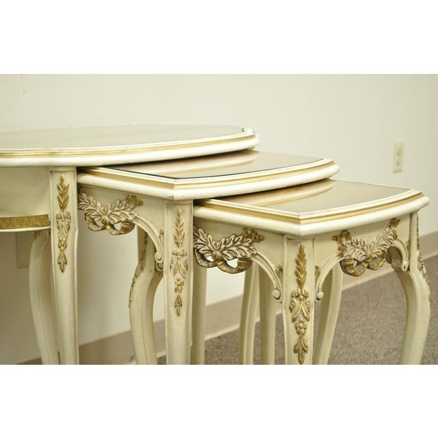 Cream 3 Vintage French Louis XV Carved Satinwood Inlaid Nest of Nesting Side Tables For Sale - Image 8 of 11