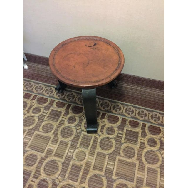 French ELEGANT HERMES STYLE WHIPPED STITCHED LEATHER TOPPED IRON BASE TABLE For Sale - Image 3 of 8