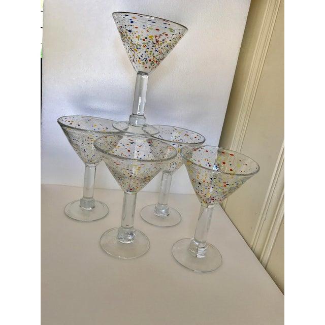 2000 - 2009 Large Artisan Confetti Martini Glasses- Set of 5 For Sale - Image 5 of 10