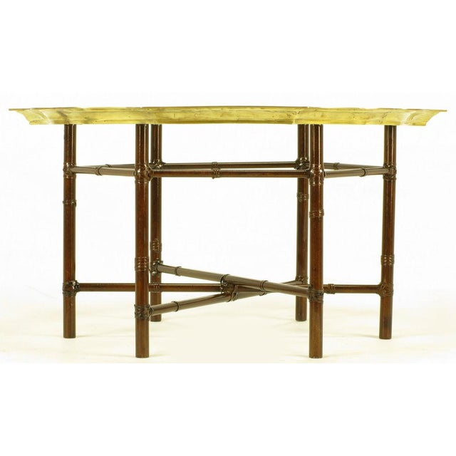 Iron Bamboo-Form Coffee Table With Brass Rimmed Glass Tray - Image 5 of 7