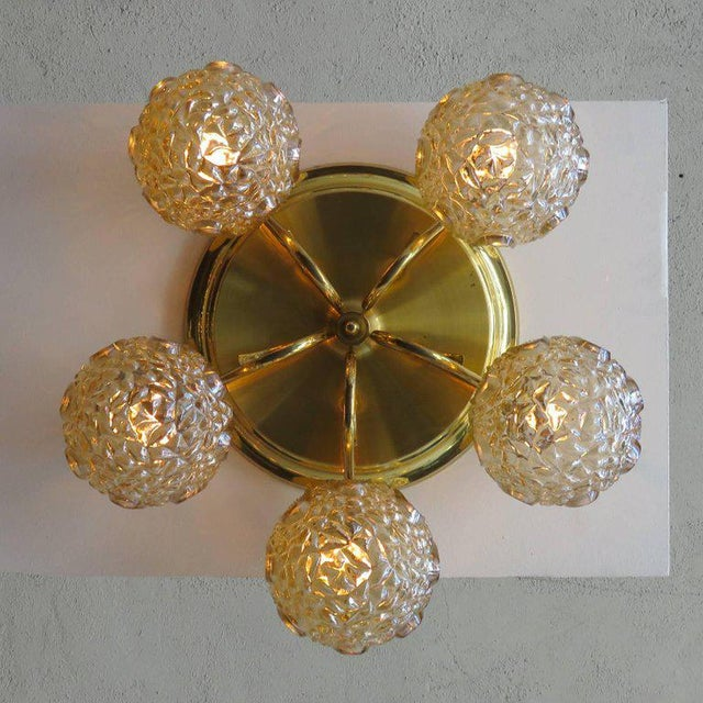 Brass 1960s Mid-Century Modern Five-Globe Flush Mount Chandelier For Sale - Image 8 of 11
