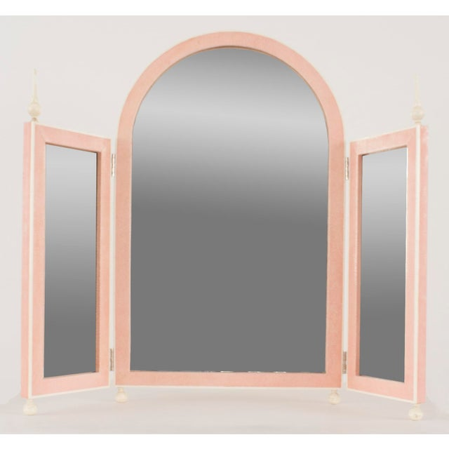 Art Deco French Art Deco Style Pink Shagreen Table Top Triptych Dressing Table Mirror For Sale - Image 3 of 3