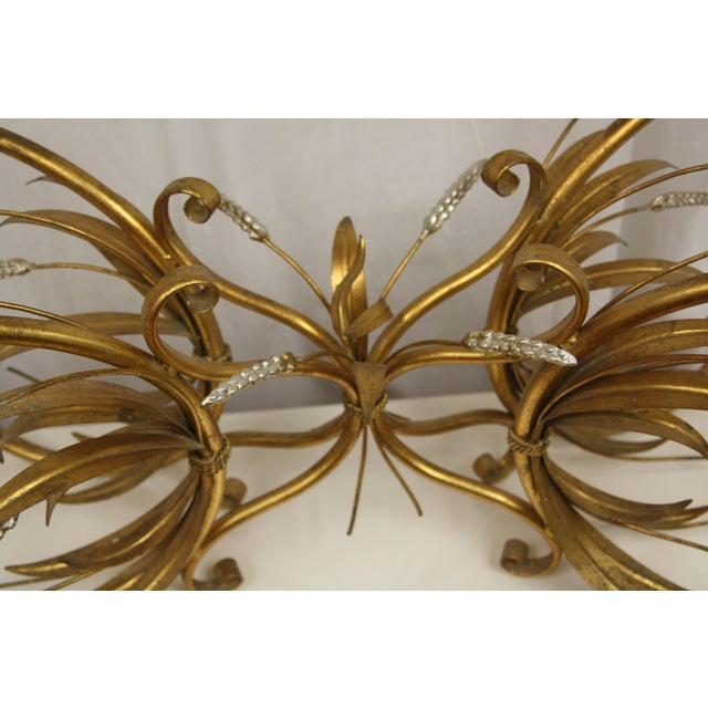 Vintage Gold Gilt Flower Wheat Sheaf Coffee Table For Sale - Image 4 of 7