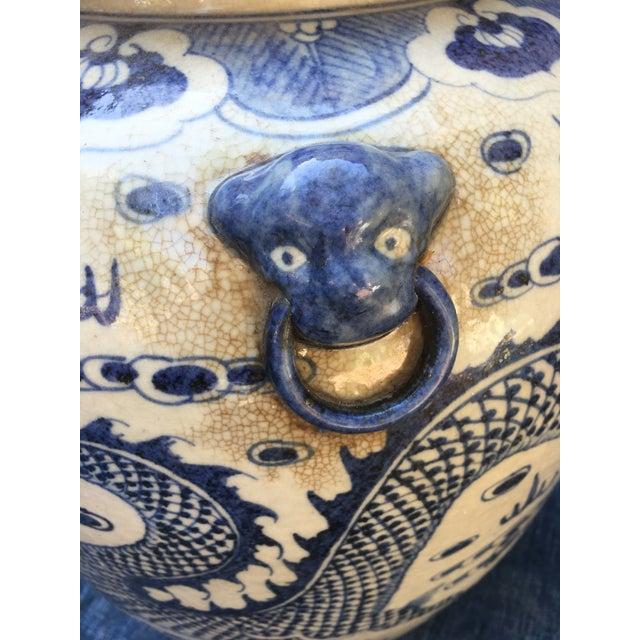 Chinese Dragon Urn W/ Foo Dog Handle Lid - Image 6 of 11