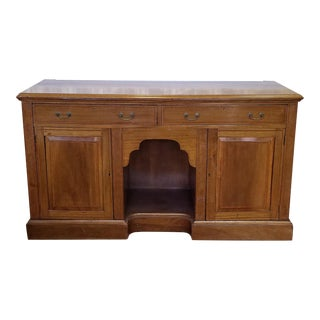 Antique English Georgian Banded Inlaid Mahogany Dining Room Buffet Credenza Cabinet c1880 For Sale