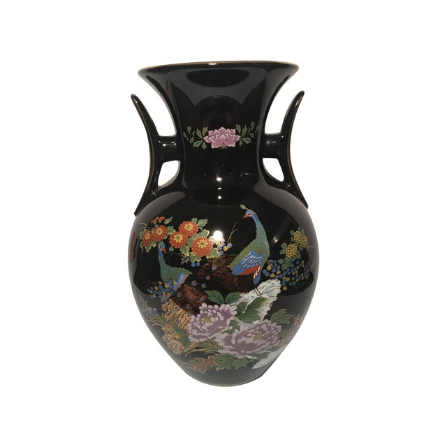 Black Chinoiserie Vase With Peacock Motif - Image 1 of 7