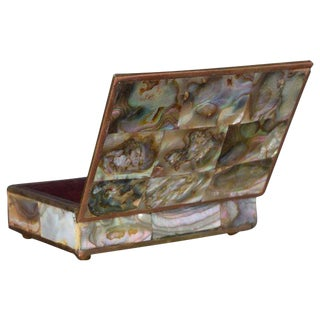 Mexico Taxco Mid-Century Modern Abalone, Brass & Rosewood Box For Sale