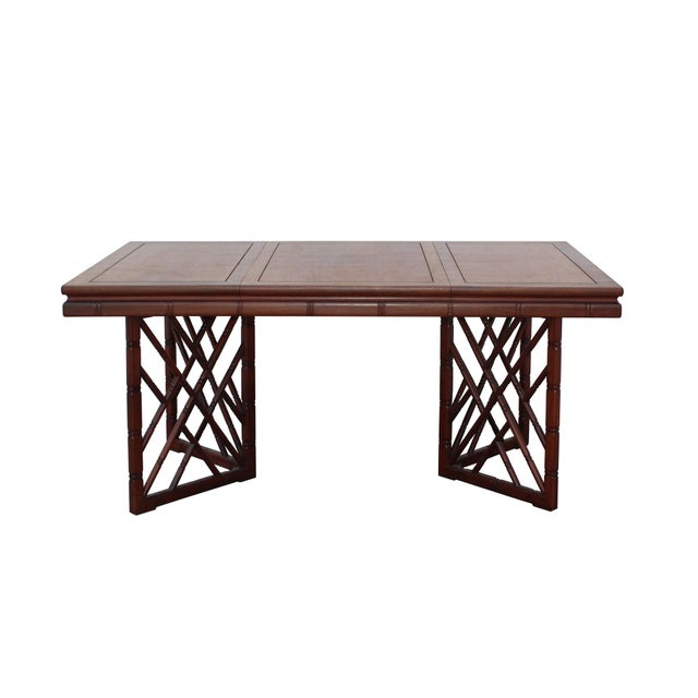 Chinese Oriental Brown Rectangular Writing Desk Dining Table For Sale - Image 10 of 10